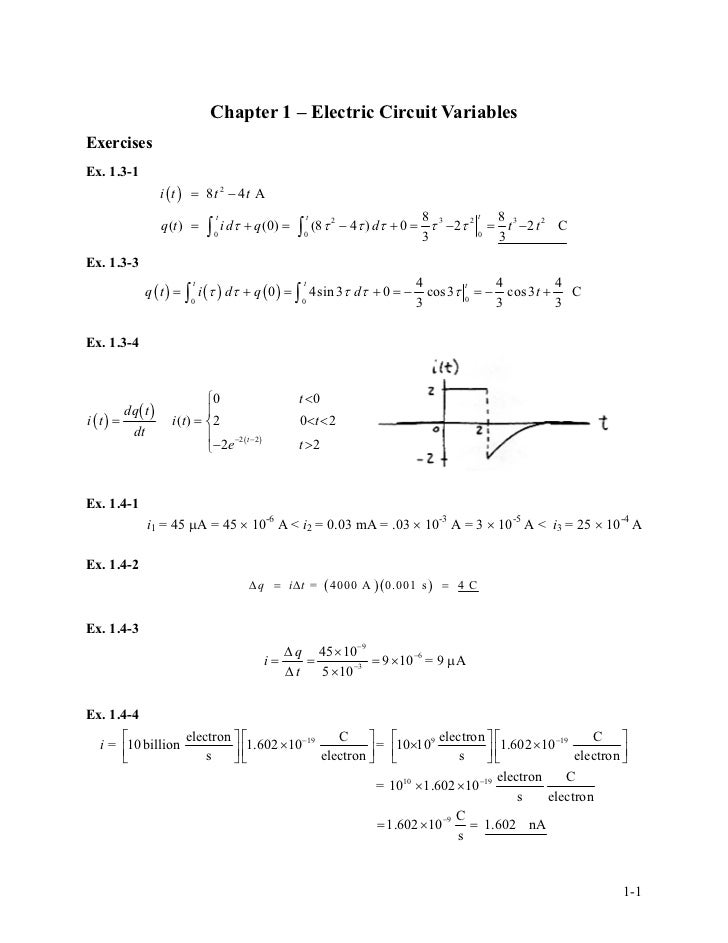 solution manual for introduction to electric circuits5 chapter 1 \u2013 electric circuit variablesexercisesex